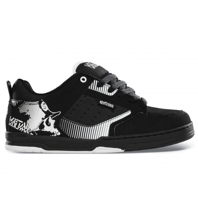 Motorsports Metal Mulisha Etnies Cartel Shoes.  Action Nubuck/Synthetic.  Padded tongue and collar for comfort; triple-stitched toe cap; heel pull for easy entry; STI Foam Lite Level 1 footbed; stitched cupsole construction; outsole flex grooves; 300 NBS rubber outsole.Limited Edition Metal Mulisha Etnies collaboration. - $80.00