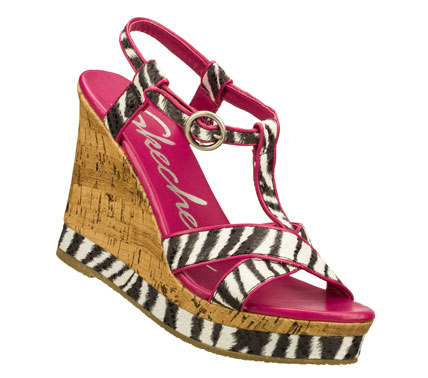 Entertainment Animate your warm weather style with the SKECHERS Cali Bomb Shell - Fantasia sandal.  Soft textured and printed fabric upper in a wedge heeled dress casual strappy slide sandal with contrast edging detail. - $50.00