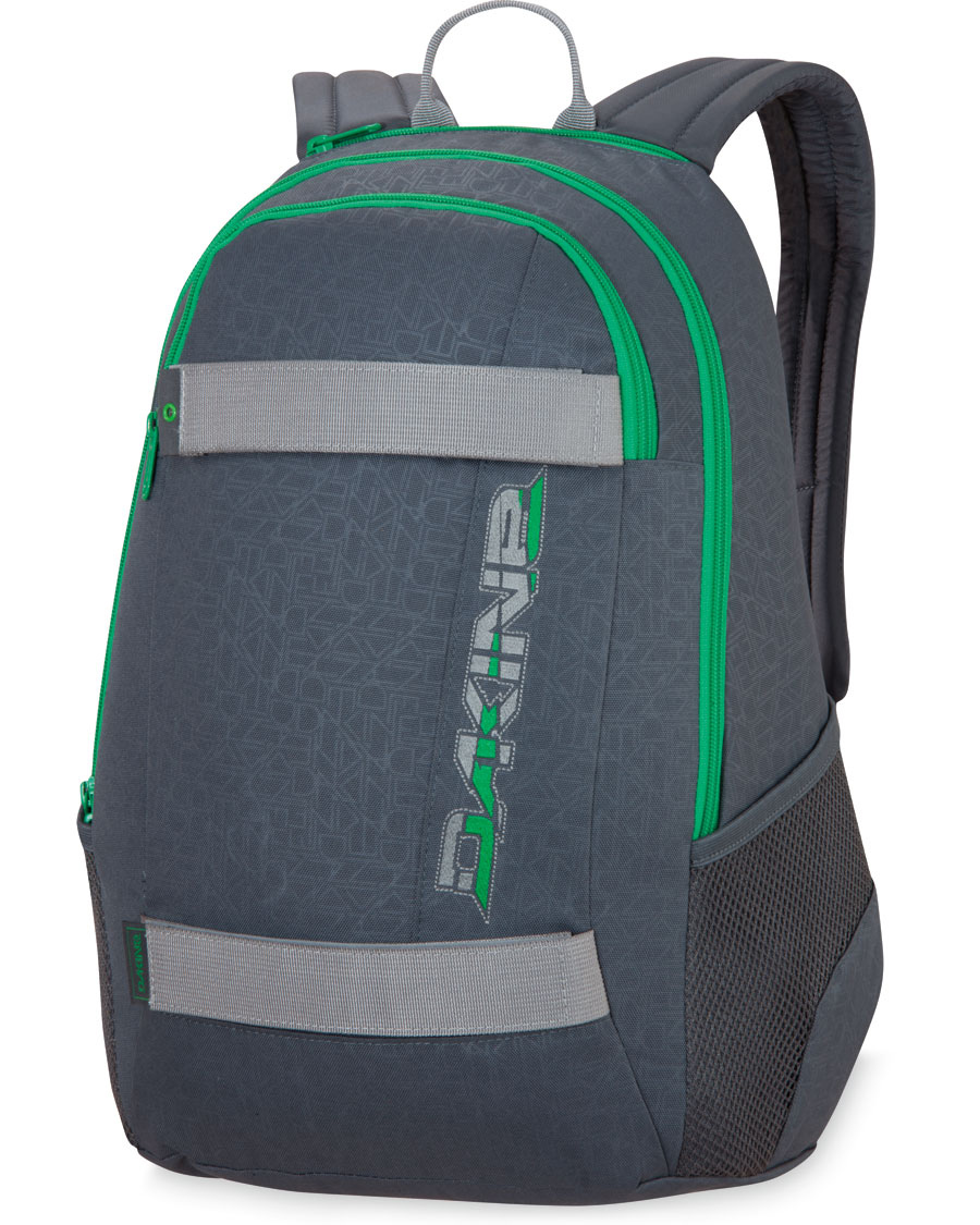 "Skateboard Key Features of the Dakine Exit Backpack 20L:  1190 cu. In [20L]  18 x 11 x 7"" [46 x 28 x 18cm]  600D Polyester  Skateboard carry straps  Zippered sunglass pocket  Organizer pocket  Mesh side pockets - $24.95"