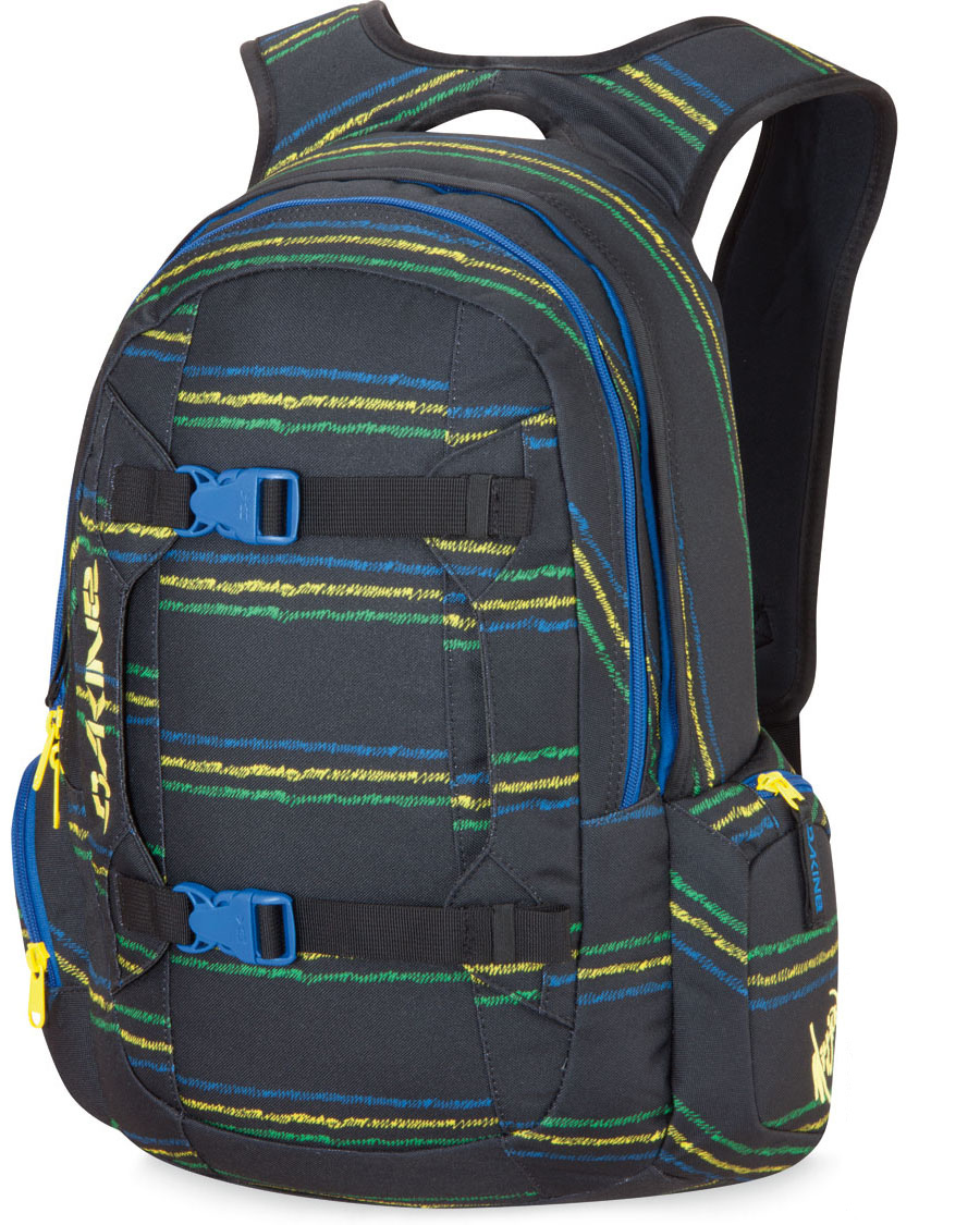 "Surf In the Dakine Mission 25L Backpack, the shoulder pads serve as a key feature of the backpack.  It is suitable for all events whether for hikes, school, road trips, or other adventures.  The key feature stands out in comparison to other backpacks in the market because of its lightweight feature, while providing maximal comfort.  The Dakine Mission Backpack also stands high in style as seen with the buckle design.  The buckles serve dual purposes for style and ease of access for owners on the go.Key Features of the Dakine Mission 25L Backpack:  1500 cu. in.  [ 25L ]  21 x 11 x 8""  [ 53 x 28 x 20cm ]  2 lbs.  [ .9kg ]  600D Polyester  Padded laptop sleeve  Fits most 15"" laptops  Vertical board carry straps  Organizer pocket  Plush lined sunglass pocket  Plush lined goggle pocket   Padded waist belt - $48.95"