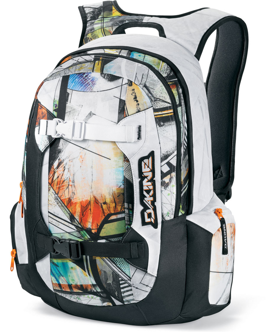 "Surf Key Features of the Dakine Mission Backpack 25L: Padded sleeve fits most 15"" laptops Vertical board carry straps Fleece lined goggle pocket Organizer pocket Fleece lined sunglass pocket Padded waist belt 1500 cu. in. [ 25L ] 21 x 11 x 8"" [ 53 x 28 x 20cm ] 2 lbs. [ .9kg ] 600D Polyester - $70.00"