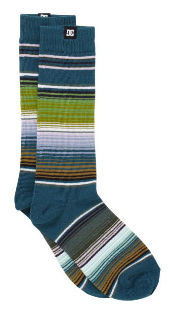 Skateboard Key Features of the DC Swillbot Socks: DC custom yarn dye sock Mexican blanket knit design Woven label branding at cuff 80% Cotton / 15% Nylon / Polyamide / 5% Spandex - $8.00