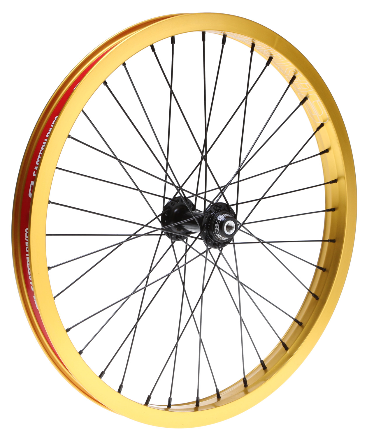 "Fitness Smooth rolling hubs, strong double-walled rims, female axles, hub guard included. Key Features of the Eastern Venus Front 36H BMX Wheel Gold 20"":  6061 Forged then CNCed machined hub body  7075 alloy female axle, heat treated chomoly bolts  Precision sealed bearings  Polymer CNCed hub guard included  7075 T6 Alloy Diode Rim  Fusion welded for a better seem  Double-wall 36 hole  Colors: Matte Black, Matte Red, Matte Blue, Matte Platinum, Matte Purple, Matte Hot Blue or Matte Gold  Weight: 31.7 ounces - $99.95"