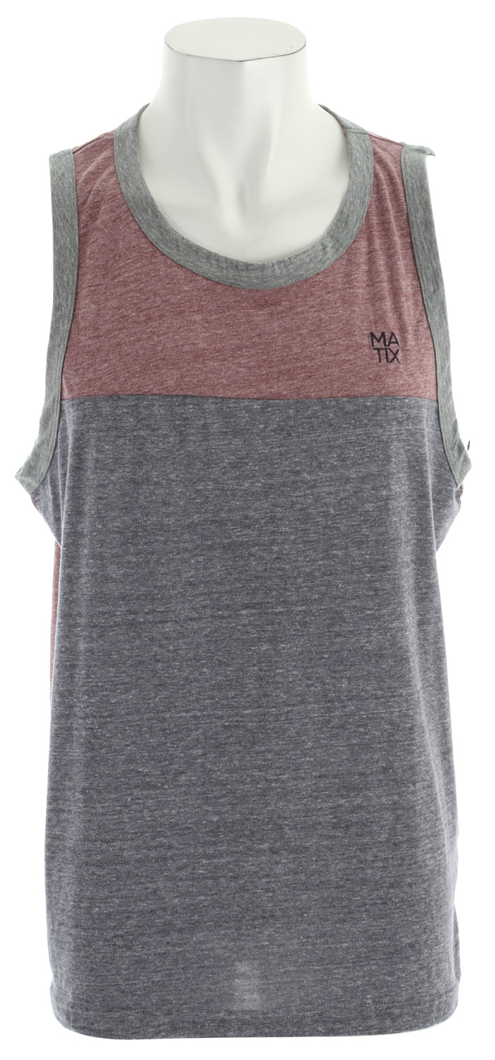 Surf Key Features of the Matix Monostack Block Tank: Premium Tri-blend: 50% poly/25% cotton/25% rayon Custom body paneled color blocked tank with embroidery at left left Clamp label at back lower right - $26.00