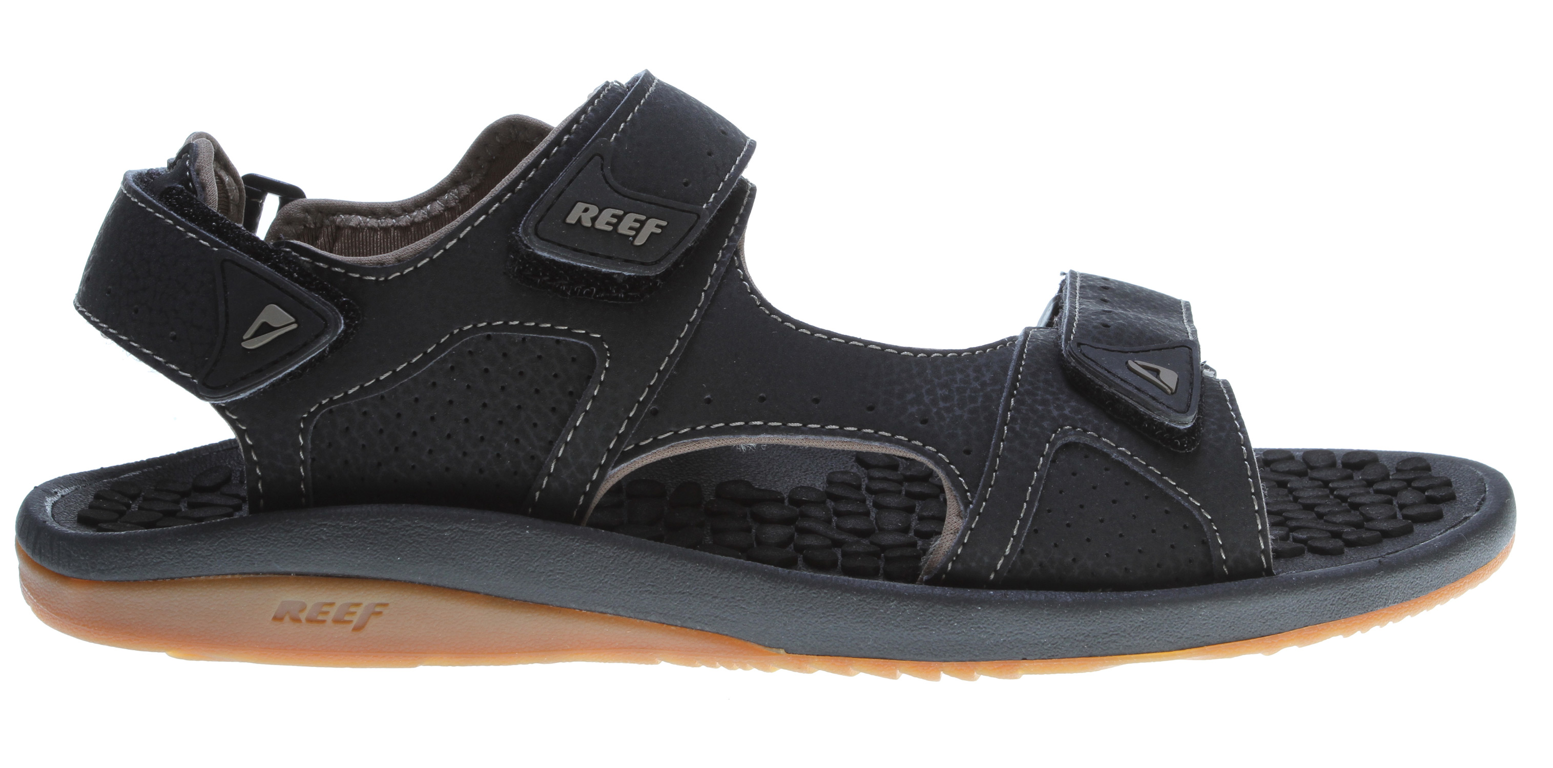 Surf Key Features of the Reef Olas Cage SL Sandals: water friendly leather adjustable cage upper with bridge support feature Quick dry lining Heavy texture thermo-sliced textured eva footbed Deep contoured compression molded eva midsole Reef supreme design outsole made of 25% recycled rubber Supreme box packaging - $45.95