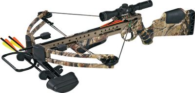 "Hunting If Team Realtree endorses a crossbow you know it's got to be good. The TRT Ultra-Lite Express is as rugged, dependable hunting tool as you'll find with speeds up to 330 fps. It comes with a 4x32 scope with a duplex reticle and everything you need to start hunting, except broadheads. The crossbow has asymmetric limbs, stumper arms made of Sims Navcom and a one-piece sight bridge with a Picatinny rail. Forged-aluminum cam and riser. Draw weight: 175 lbs. Stock length: 34"". Width: 26"". Weight: 6-1/2 lbs. Camo pattern: Realtree AP .Team Realtree Ultra-Lite Express Package includes: crossbow, scope, Hunter Elite Lite three-bolt quiver, three bolts and sound stoppers. - $499.88"
