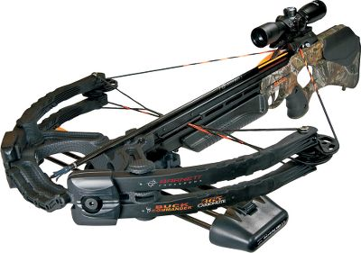 "Hunting Compact, power, and speed put you in command of the deer woods. Advanced Anti-Vibration isolator (AVi ) technology teams with Barnsdale laminated limbs to reduce noise by 20%-30% compared to other crossbows in this class. The 175-lb. draw weight and 15"" power stroke put 125 ft.-lbs. of energy behind each bolt to shoot at speeds up to 365 fps. Features include an aluminum flight rail, Barnett Whiplash Cams and the Crosswire string and cable system. New anti-dry-fire/MIM trigger system eliminates possible damage caused by a dry fire. 3-1/2-lb. trigger pull. Shoot-through stirrup.Power stroke: 15"".Draw weight: 175 lbs.Stock length: 36"".Width: 24"".Weight: 9 lbs.Buck Commander Package includes: crossbow, quiver, four 22"" bolts and a 4 x 32 multi-reticle scope. - $499.88"