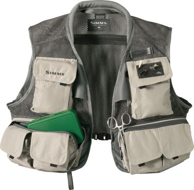Fishing All the features you'd expect from Simms in a lightweight, packable vest. Ultrabreathable polyester mesh fabric encourages maximum airflow. Two patented built-in retractors and accessory D-rings keep tools and other essentials within easy reach. 19 pockets to store and organize gear. Pockets are made of nylon and have a durable water-repellent finish. Two large bellowed chest pockets with hook-and-loop closures. Two tear-away tippet pockets. Two large zippered horizontal fly-box pockets. Four vertical waist pockets with hook-and-loop closures. Four zippered internal pockets. Four internal pockets with hook-and-loop closures. One horizontal back pocket. Rod loop and hook-and-loop closure secures a rod. Webbing and D-ring net holder. Padded rib-knit collar. Buckle closure. Imported. Chest sizes: M-2XL.Color: Grey. - $79.88