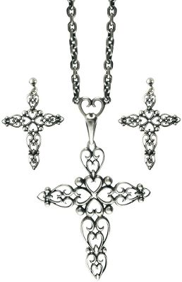 Entertainment The WesternEdge Antique Cross Jewelry Set is adorned with a beautiful display of connected hearts. Necklace and earrings boast antique silver plating with tarnish protection, keeping silver plates looking like new. Surgical steel ear posts. Made of brass alloy. Includes 16 chain with 2 tail. Earring pendant: 1-1/4 x 7/8W.Necklace pendant: 2-1/2L x 1-3/4W. - $35.99