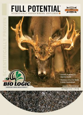 Hunting Mossy Oak BioLogic Full Potential Mineral Supplement ensures deer receive their nutritional needs during peak months of antler growth when mineral use exceeds mineral intake. Establishing mineral reserves before summer is critical. These organic trace minerals, in the form of amino acid complexes, are more readily absorbed in the bloodstream for superior response. Size: 4-lb. bag. Color: Oak. - $6.88