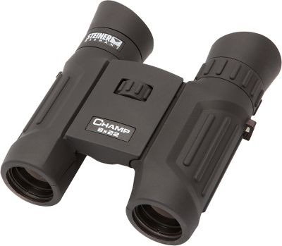 Hunting Steiner Champ Compact Binoculars have high-contrast coatings on every lens, ensuring high performance and more comfortable viewing. Fast Close-Focus keeps everything sharp and clear, even as close as 10 feet. Waterproof construction and rugged rubber armoring absorb bumps or abuse. At around 10 oz., these are truly featherweight Champs. The Steiner Champs gather plenty of light, their ergonomic eyecups keep side glare and wind at bay. Molded traction bars provide a steady grip. Includes a neck strap andpadded travel case. Color: Clear. Type: Compact. - $99.99
