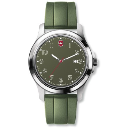 Camp and Hike The colorful Swiss Army Garrison Elegance watch offers precise timekeeping with an uncluttered design, durable materials and Swiss-built quality. Stainless-steel case and hardened mineral crystal face resist scratches and wear. Easy-to-read analog dial with sweep second hand and bold markings stands out against the background. Luminous hands and hour markers glow in the dark for easy viewing at night. Inset window displays date. Made in Switzerland with precision Swiss analog quartz movement. Comfortable and durable synthetic strap withstands heavy use. The Swiss Army Garrison Elegance watch is water resistant to a depth of 100m (330 ft.). - $109.93