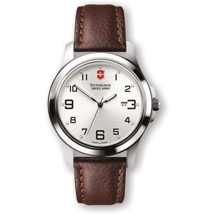Camp and Hike The Swiss Army Garrison Elegance watch offers precise timekeeping in an uncluttered design, durable materials including a handsome leather band, and Swiss-built quality. - $129.93