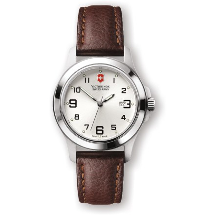 Camp and Hike The women's Swiss Army Garrison Elegance watch offers precise timekeeping in an uncluttered design, durable materials including a classic leather band, and Swiss-built quality. - $112.93