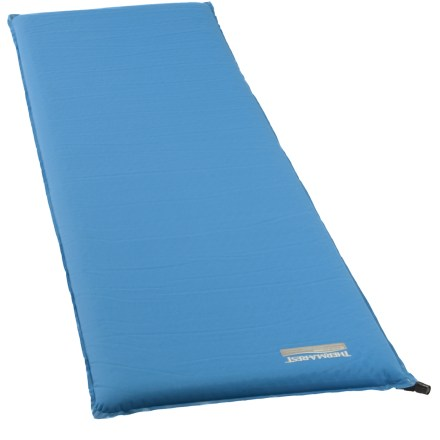 Camp and Hike For taller campers, the X large Therm-a-Rest BaseCamp(TM) sleeping pad measures 77 in. long x 30 in. wide, giving you plenty of space to get comfortable on your car-camping trips. 2 in. thickness provides a high-level of warmth and support; expanded and die-cut foams insulate well on the cold, hard ground. At 4 lbs., the X large BaseCamp pad is perfect for car-camping trips where comfort is of the utmost importance. R-value equals 5; most sleeping pads we sell range in R-value from 1.0 (minimally insulated) to 9.5 (well insulated). The self-inflating Therm-a-Rest BaseCamp sleeping pad includes a stuff sack. Closeout. - $74.73