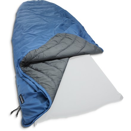 Camp and Hike The Therm-a-Rest Tech blanket features a quilted synthetic fill for warmth and comfort anywhere you travel. Use it alone or connect it to your Therm-a-Rest sleeping pad to make a cozy cocoon. Connect the blanket to your Therm-a-Rest sleeping pad (sold separately) using a Fast and Light Snap kit or Therm-a-Rest Universal sheet (not included). Blanket can also be attached to a Therm-a-Rest sleeping bag for added warmth; snaps on the Tech blanket connect to loops on the sleeping bag (sleeping bag not included). Drawcord at foot seals out cold air or can be opened for ventilation when used with a fitted sheet and air mattress. Also serves as an excellent emergency blanket and camp throw-use it anytime you need an extra layer of warmth. Therm-a-Rest Tech blanket stuffs into its own pocket for easy packing. Closeout. - $44.73