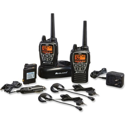 Camp and Hike These Midland GXT2000VP4 radios are built to offer extended battery life, weatherproof toughness and powerful 2-way communication with 22 channels and powerful range. JIS4 water-resistance helps protect against light rain or splashing water. Talk on both Family Radio Service (FRS) and General Mobile Radio Service (GMRS); 48 channels with 142 privacy codes provide 2,662 options. Transmit and receive up to 36 miles per manufacturer (based on an unobstructed line of sight between you and another radio operator in good weather). Power is automatically reduced to a half-watt across FRS-only channels (2-mile range), enabling radio to talk to all existing FRS 2-way radios. High, medium and low power settings control transmission power to conserve battery life. SOS alert sends out a distinctive distress signal for emergency situations; 10 call alerts notify you of incoming calls from your group. eVOX voice activation with 9 sensitivity levels lets you talk hands-free when used with or without optional accessories. Also features channel scan, auto squelch, ''roger'' beep, silent operation, keystroke tones, and mic and headphone jacks. Bright LCD backlight makes the display easy to read in the dark. Keypad lock protects your personalized settings. The Midland GXT2000VP4 radios include rechargeable lithium polymer battery packs, belt clips, pair of headsets, desktop charger, AC and DC adapters and an owner's manual. - $88.93