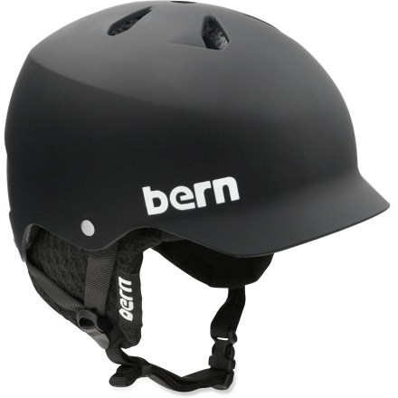 Ski The Bern Watts snow helmet has a winter liner, built-in visor and 7 vents to keep you warm, dry and comfortable. Thin-shell molded ABS shell with expanded polystyrene (EPS) hard foam interior provides high-impact protection. Top and back vents balance airflow in both winter and summer weather. Removable winter liner features a breathable mesh crown and soft, fleece-lined padding to keep the chill off your ears and back of your neck. Bern Watts helmet features a low-profile shape and rear goggles clip. Meets ASTM F 2040 and EN 1077B standards for snow and ski, CPSC and EN 1078 standards for bike and skate. Closeout. - $59.73