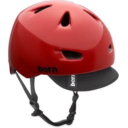 Ski The popular Brentwood multisport helmet by Bern features a removable visor, sunglass channels for your shades and airflow vents to keep you cool. ZipMold(R) construction injects high-impact liquid foam and fuses it to a lightweight PVC shell for a seamless, low-profile fit and high strength-to-weight ratio. Bern Brentwood helmet features a vented design and removable visor. Molded channels fit eyewear ear stems so they won't dig into your head. Meets ASTM F 2040 for snow and ski, CPSC and EN 1078 standards for bike and skate. Easily adapt your helmet to the season with the Bern interchangeable cold- and warm-weather liners and accessories, not included. Closeout. - $26.73