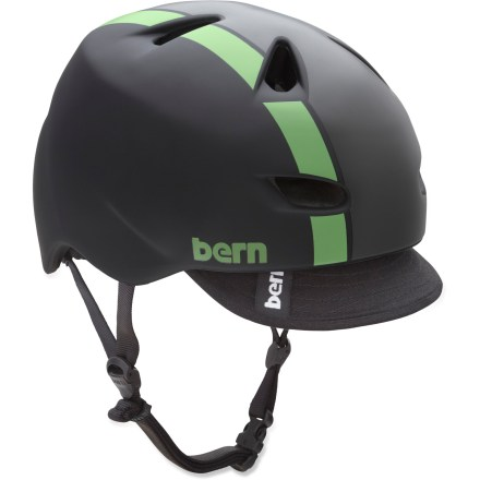 Ski The Brentwood 2-tone snow helmet by Bern features a removable visor, sunglass channels for your shades and airflow vents to keep you cool. It also offers lightweight performance and high style. ZipMold(R) construction injects high-impact liquid foam and fuses it to a lightweight PVC shell for a seamless, low-profile fit and high strength-to-weight ratio. Bern Brentwood helmet features a vented design and removable visor. Molded channels fit eyewear ear stems so they won't dig into your head. Meets ASTM F 2040 for snow and ski, CPSC and EN 1078 standards for bike and skate. Easily adapt your helmet to the season with the Bern interchangeable cold- and warm-weather liners and accessories, not included. Closeout. - $58.73