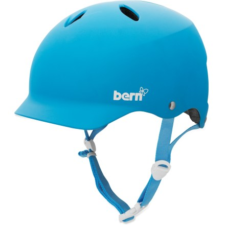 Ski The Bern Lenox multisport helmet is designed with women in mind, complete with a small shell size and a rockin' color. It features a built-in visor and 7 curved vents for ultimate protection. Thin-shell molded ABS shell with expanded polystyrene (EPS) hard foam interior provides high-impact protection. Bern Lenox helmet features a low-profile shape, vented design and a built-in visor. Meets ASTM F 2040 and EN 1077B standards for snow and ski, CPSC and EN 1078 standards for bike and skate. Easily adapt your helmet to the season with the Bern interchangeable cold- and warm-weather liners and accessories, not included. Closeout. - $41.73