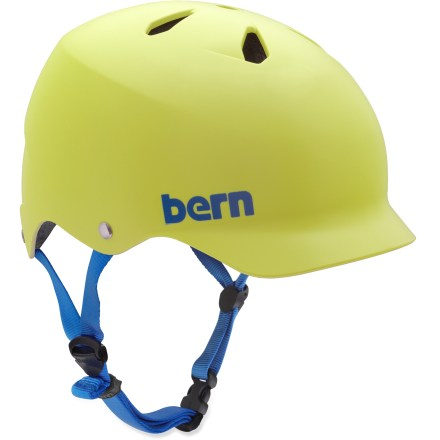Ski The Bern Watts multisport helmet in matte blue or matte yellow is a vented helmet with built-in visor.  It offers protection with a nod to skate style, and is perfect for everyday use. - $30.73