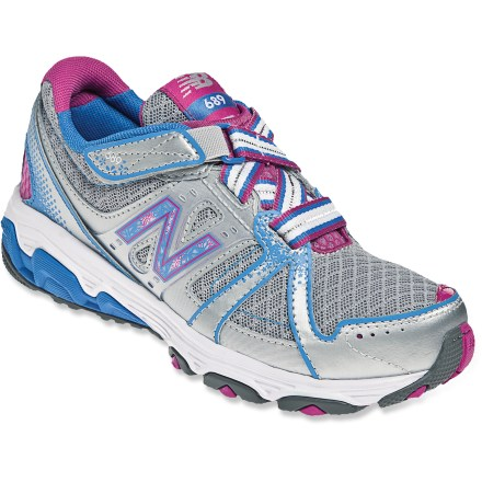 Fitness With a fun design and cushioned comfort for running around the playground, the New Balance 689 Running shoes are made for active kids. Breathable mesh uppers feature leather overlays for support; zig-zag elastic laces and rip-and-stick straps at ankles secure fit and are easy to operate. Polyester and nylon linings breathe well for sustained comfort. EVA midsoles absorb shock, cushion feet and provide gentle support. The New Balance 689 running shoes feature non-marking rubber outsoles for sure footings no matter where they roam. Closeout. - $18.73