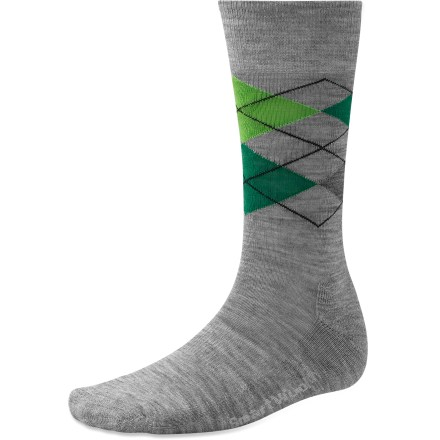 The SmartWool Diamond Jim socks stay comfortable while showing a little sophistication with their 3-color diamond argyle pattern. Made from soft merino wool blended with nylon, these socks wick moisture away from your feet, keeping them dry and cool in summer and warm in winter. WOW(TM) (wool on wool) technology increases wool content in the heel and forefoot area, improving durability and overall comfort. SmartWool socks are guaranteed not to itch and can be repeatedly machine washed and dried without shrinking. Closeout. - $11.73