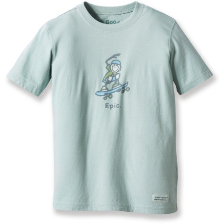 Skateboard Fun and comfortable, he'll love to wear the Life is good(R) Epic Skateboard Crusher T-shirt. ''Crushing'' process provides a distinctive, weathered color and extra-soft feel. Top-quality cotton looks good wash after wash. - $11.93