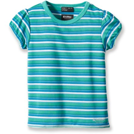 Fitness The toddlers' Killtec Nikee Mini T-shirt features a lightweight, sun-protective fabric with an airy and breathable weave, perfect for young kids enjoying warm-weather fun. Fabric provides UPF 30 sun protection, shielding skin from harmful ultraviolet rays. Polyester fabric offers quick-drying, moisture-wicking performance for all-day comfort. - $8.83