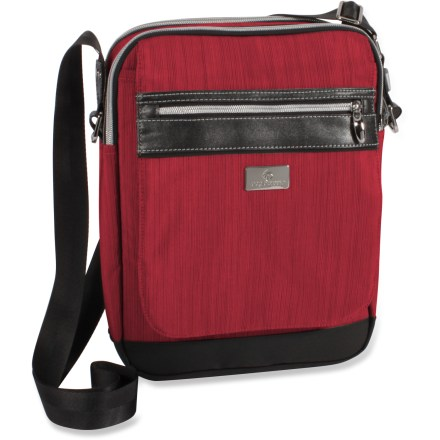 Entertainment The Roz Courier bag from Eagle Creek is a handy travel companion. This slender cross-body shoulder bag carries your 10 in. laptop and has great interior organization. - $25.73