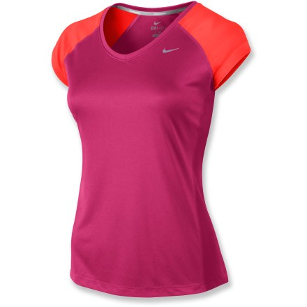 Fitness A great choice for warm-weather runs thanks to its high-tech, perspiration-wicking fabric, the Nike Miler V-neck top also has a soft touch as the miles roll by. Dri-FIT(R) fabric delivers high-tech moisture management to keep you cool, dries quickly, and feels soft and comfortable against your skin. Fabric provides UPF 30 protection from harmful solar rays. Mesh fabric along the back increases breathability. Reflective highlights increase visibility in low light, and a reflective loop on center back manages earphones cord. The Nike Miler V-nock top features flatlock side seams for flexibility and to reduce chafing. - $25.93