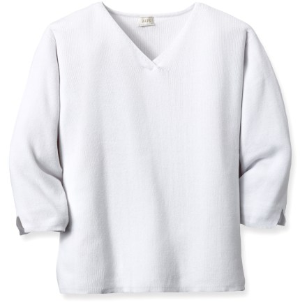 Add the Alps Rory top to your summertime wardrobe for casual evenings around town. Rib-knit cotton is light and soft. Includes 3/4-length sleeves with vent accents and a crossover V-neck. Closeout. - $18.73