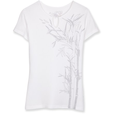 Entertainment With a cool, silky feel, the Kuhl Shiori T-shirt keeps you comfortable when the temperature soars. Stretch rayon fabric breathes well, wicks moisture from your skin and resists shrinking. Kuhl Shiori features a notched neckline and a soft bamboo print on the front. Closeout. - $22.73