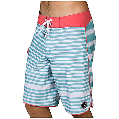 Surf Free Shipping. Billabong Men's Striker Stripe Boardshort DECENT FEATURES of the Billabong Men's Striker Stripe Boardshort 20in. Hydro Stretch Platinum X Quad Stretch boardshort with a 2 color stripe print Logo's include leg wave logo patch and Billabong print at back pocket The SPECS 92% Polyester 8% Spandex - $54.95