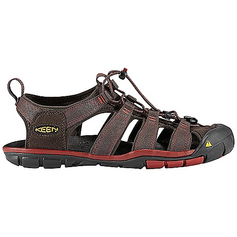 Surf Free Shipping. Keen Men's Clearwater CNX Sandal FEATURES of the Keen Men's Clearwater CNX Sandal Washable polyester webbing upper Metatarsal ridge for natural underfoot support 4mm midsole drop Proprietary lightweight PU midsole compound for long lasting support and comfort TPU stability shank Multi-directional flex grooves for natural flexibility and improved ground contact Non-marking rubber outsole Contoured arch Razor siping for added traction Secure fit lace capture system with 2mm bungee lace Aegis microbe shield hydrophobic mesh lining - $99.95