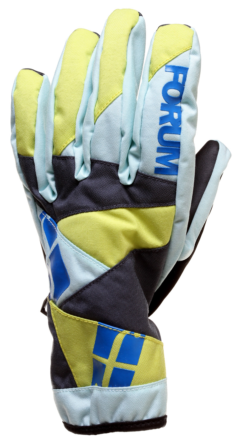 Snowboard Key Features of the Forum Fair Snowboard Gloves: Lightly insulated spring glove Water-repellent barrier shell Hot Box insulation Soft-grip PU palm Soft fleece lining Adjustable cuffs Faux-suede nose-wipe - $29.95