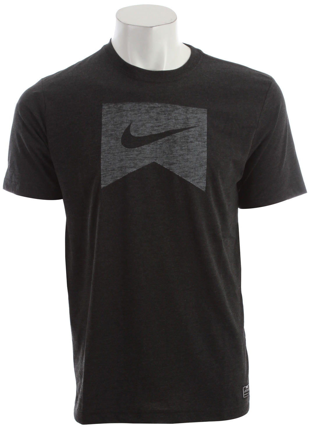 Skateboard Key Features of the Nike Ribbon Logo Dri Fit Blend T-Shirt: Dri-FIT blend tee. Graphic executed with a soft hand screen print. Body: Dri-FIT 130g. 75% polyester (10% recycled)/13% cotton (10% organic)/12% rayon plain jersey. Rib: 215g. 50% polyester/25% cotton (10% organic)/25% rayon rib. - $30.00
