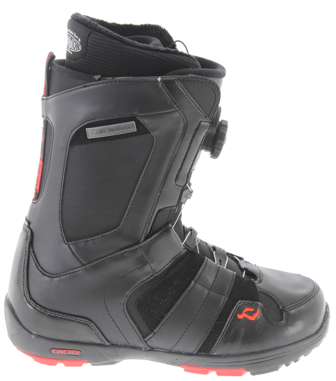 Snowboard The All Around Luxury Boot. The Jackson is built for the intermediate Rider looking to push himself above and beyond on any given terrain. Featuring The Closer lace guide with Boa Coiler lacing for total boot closure, superior heel hold and solid Rider control. Add our Intuition Support Foam Liner and newly re-designed Blown Light Summit outsole and you'll have the fastest, most comfortable boot so you can focus on the day, not your feet. Key Features of the Ride Jackson BOA Coiler Snowboard Boots: Liner: Intuition Support Foam Liner Technology, w/ Aegis Antimicrobial Coating Liner Fit: Thermo-Formable Internal & External J Bars Under Foot Support: 3D Formed Dual Density EVA Insole NEW! Sole: Blown Light Summit Liner Lacing: Lock Down Turbo Shell Lacing: H2 Boa Coiler Lacing System w/ The Closer - $129.95