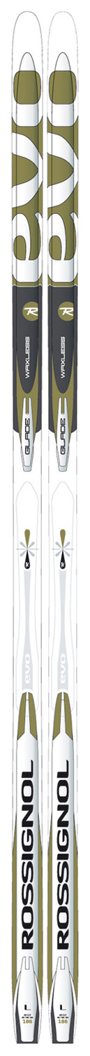 Ski Key Features of the Rossignol Evo Glade NIS AR Cross Country Skis: Lacquered sidewall Wood Air Core Sturdy Lightweight Weight per ski: 750 gr/176 Double Cut Base & Tuning NIS-1 Black Plate Sidecut: 61/55/60 - $86.95