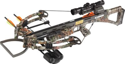 Hunting Strike with smooth, quiet, snakelike accuracy. The compact Darton SS Xtreme Crossbow takes shock-dampened operation and accuracy to new extremes. Hit the mark more often with Dartons improved trackless barrel system and positive limb alignment system. The patented string catch offers a smooth string release for enhanced shot control. The enhanced trigger design pulls at 3 lbs. with reduced trigger travel. Enjoy the feel of the durable Soft Touch finish. The integrated riser and string suppressor system and Dartons updated patent-pending barrel dampener combine to dramatically reduce noise and vibration. Rifle-style safety.Speed: 360 fps.Power stroke: 13.5.Draw weight: 180 lbs.Length: 35.5.Weight: 8.4 lbs. without accessories.Camo pattern: Next Camo G1 Vista.Viper SS Extreme Package includes: crossbow, 4x32 scope, scope rings, Lynx four-arrow quiver and three 22 carbon crossbow bolts. Type: Crossbows. IBO Speed (fps): 351 and above. - $699.88