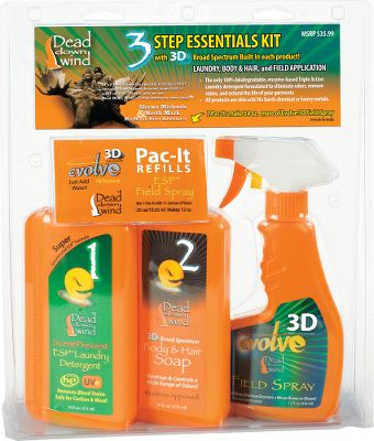 Hunting Dead Down Winds three-step system to odor management combines laundry, personal hygiene and field-applicated scent control into one package.Includes:16-oz. Laundry Detergent - Cleans, removes protein stains, controls odor and protects against UV, all in one simple step. Great for top-load and high-efficiency washers.16-oz. Hair and Body Soap - Controls human odor and helps prevent it from reforming. Formulated for skin, hair and scalp.12-oz. Evolve Field Spray with two Pac-It Refills - Controls a wide spectrum of odors and helps prevent human odors from forming. Use as your last line of defense before going afield. Each Pac-It concentrate makes 12 oz. of Evolve Spray. These feather-light packets are ideal for backcountry or traveling hunters. Just add water. - $14.88