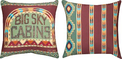Entertainment Designed by folk artist Cindy Shamp, the colors and patterns of the Manual Woodworkers Weavers Big Sky Cabins Indoor/Outdoor Pillow exude an authentic cabin feel and a homespun touch. Climaweave treatment protects the reversible, printed-fabric pillow from moisture, fading and the ravages of time. Spot clean. Made in USA.Dimensions: 18L x 18W. - $29.99