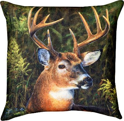 Entertainment Proudly display the beauty of the majestic whitetail with the Manual Woodworkers Weavers September Whitetail Indoor/Outdoor Pillow. Climaweave treatment protects this intricately detailed, printed-fabric pillow from moisture, fading and the ravages of time. Adorned with artwork from award-winning artist Abraham Hunter. Spot clean. Made in USA.Dimensions: 18L x 18W. - $29.99