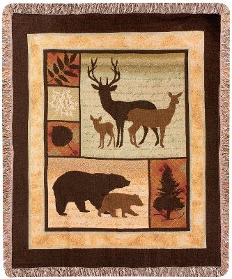 From wildlife to plant life, the Manual Woodworkers Weavers Call of the Wild Throw brings the outdoors inside in a cozy, earth-toned tapestry. Throw is made of 100% woven cotton for warmth, durability and comfort. Accented with fringe. Machine washable. Do not bleach. Made in USA.Dimensions: 50W x 60L. Type: Blankets & Throws. - $49.99