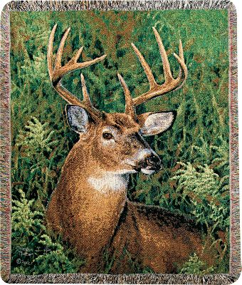 Hunting Proudly display the beauty of the majestic whitetail with the Manual Woodworkers Weavers September Whitetail Throw. Adorned with artwork from award-winning artist Abraham Hunter, this tapestry throw is made of 100% woven cotton for warmth, durability and comfort. Accented with fringe. Machine washable. Do not bleach. Made in USA.Dimensions: 60L x 50W. - $49.99