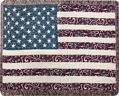 The Manual Woodworkers Weavers Bandana in USA Throw celebrates patriotism with an Old West feel. This vivid tapestry accented with fringe is made of 100% woven cotton for warmth, durability and comfort. Machine washable. Do not bleach. Made in USA.Dimensions: 46 x 60. - $49.99