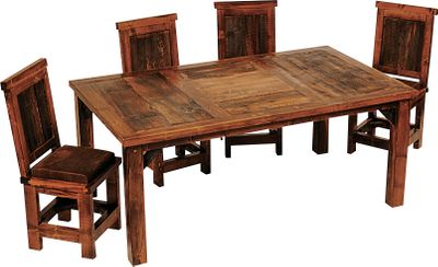 Entertainment Furnish your kitchen or dining room in the rustic, homespun spirit of the West in a truly unique package with the Mountain Woods Furniture Wyoming 6-ft. Dining Table Set. Made of a combination of reclaimed barn wood and regionally harvested wood, every piece has an identity all its own. Reclaimed wood exudes a warm, inviting feel while adding a character-rich, naturally weathered look. Widely varying knot patterns, grain designs and colors from rich, weathered grays to shades of orange and red further distinguish the Wyoming Collection. Six upholstered chairs balance appearance and comfort. Handcrafted by master artisans in Laramie, Wyoming. A founding member of the Sustainable Furniture Council, Mountain Woods Furniture uses mostly reclaimed or dead-standing wood as part of its strong commitment to sustainable, environmentally friendly production. Made in USA.Table dimensions: 30H x 72W x 42D.Chair dimensions: 40H x 18W x 19D.Note: Dimensions are approximate due to slight inherent variations in lumber. Type: Dining Sets. - $3,999.99