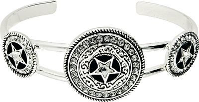 Entertainment Bearing centerpieces reminiscent of the classic sheriffs star, this gorgeous concho-shaped cuff bracelet from Western Edge is 7 wide. Made of brass alloy and plated in tarnish-resistant silver plating, the Western embellishments and crystal stones add a perfect amount of cowgirl-worthy bling. Imported.Band dimensions: 7W.Middle concho dimensions: 3/4 dia; side conchos: 5/8 dia. - $49.99