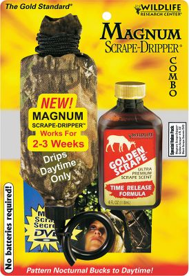 Hunting The Magnum Scrape Dripper keeps a scrape fresh and bucks coming back. Drips during daytime only so each 4-oz. scent lasts up to two to three weeks. Automatically intensifies scent over time to get bucks more riled up. Combo includes: Magnum Scrape Dripper and 4-oz. bottle of Golden Scrape scent. Type: Lures/Attractants. - $21.49